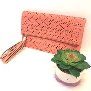 NWOT Crossbody/ Clutch Tassel Geometric bag